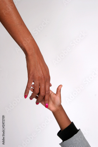 Clasping hands in support