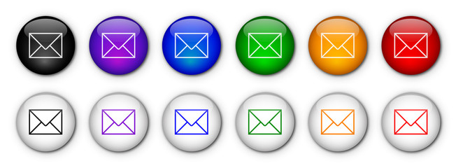 E-mail buttons (x12) (various colours)