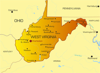 Vector color map of West Virginia state. Usa