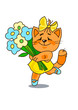 Cheerful red cat with a bunch of flowers