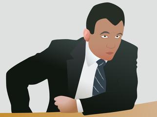 Agressive businessman in decision