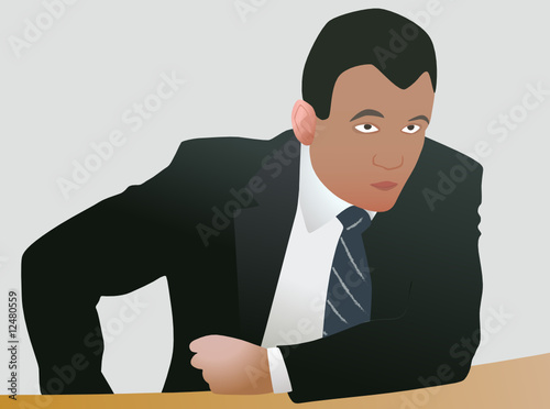 Agressive businessman in decision
