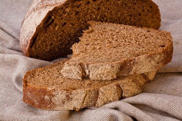 Sliced rustic brown bread