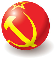 USSR flag texture on ball. Design element. Vector.