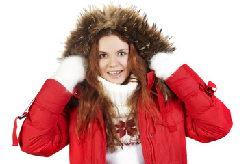 girl in in a red winter jacket