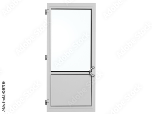 one frame metal-plastic door isolated on white - 12487589