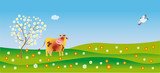 A cow admires in spring poster