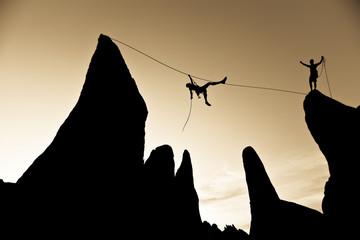Climber on a tyrolean traverse.