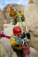 High angle rock climbing rescue.