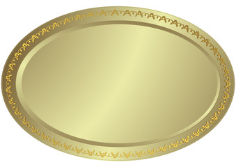 Oval silvery volumetric plate (vector)