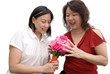 Mum shock to receive roses, isolated white background