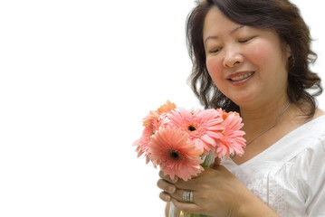 Lady with pink gerbera