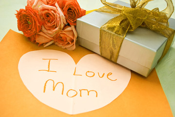 Gifts for mother day - gold and yellow concept
