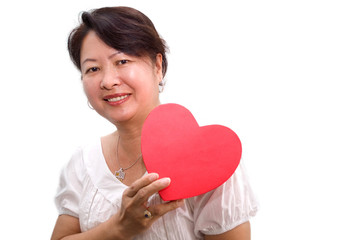 Asian lady with heart shape gift box