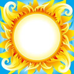 Fiery sun vector background