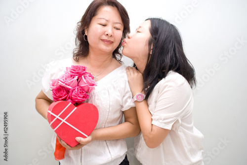 asian girl kissing mother