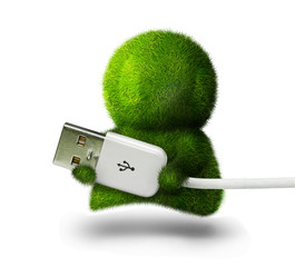 Cute green person holding usb connector