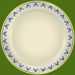 Old-fashioned white plate with a gold and blue ornament