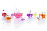 reflections - set of glass containers filled with colored liquid poster