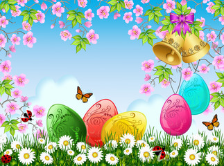 Glossy Easter eggs and golden bells under cherry tree blossoms