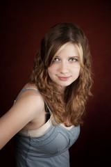 Teen girl with green eyes
