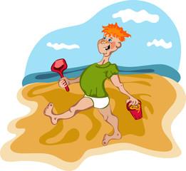 Chico travieso jugando en la playa