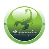 Scorpio glossy button poster