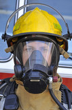 Fireman wearing air mask