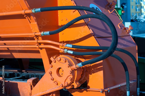 canvas print picture Hydraulic hoses of tractor