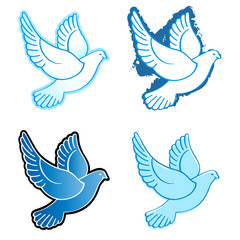Four flying dove designs in blue colors