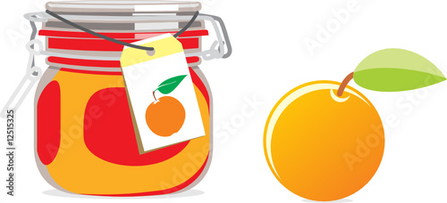 isolated orange jam jar and fruit