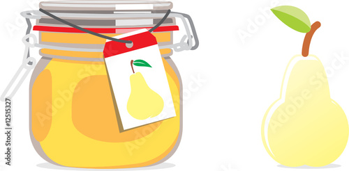 isolated pear jam jar and fruit