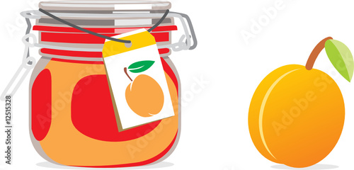 isolated apricot jam jar and fruit