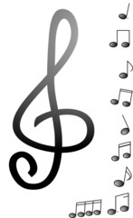 vector illustration of treble clef and different notes