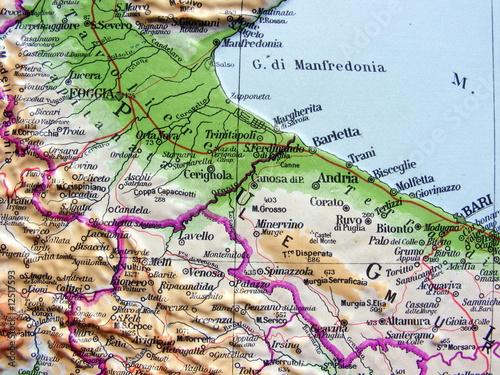 Carta geografica della Puglia