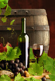 Red wine still life with cask - 12517726