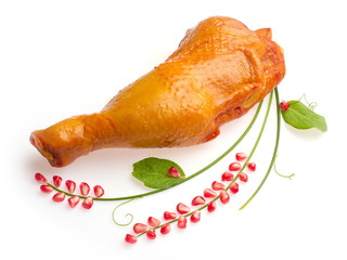 Chicken's ham decorated with granule of pomegranate...