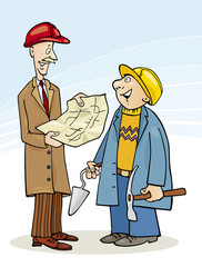 Illustration of Construction Engineer and Builder talking