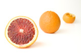 Fresh Whole and sectioned blood oranges