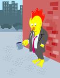 Jobless chicken begging for money poster