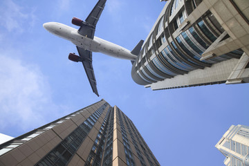 airplane on the top of modern building.