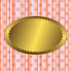 Pink striped floral  background  with golden banner