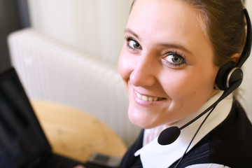 Friendly Smiling Business woman - Girl with Headset -