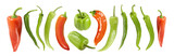 Various peppers. Isolated on white with clipping path. See also.