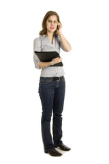 businesswoman talking into a mobile phone on white