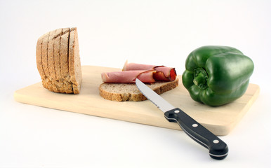 A meat sandwich with vegetable
