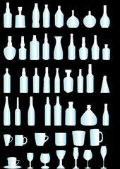 silhouette of bottles and glassis