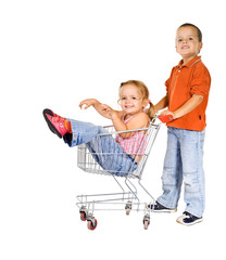 Laughing kids with shopping cart