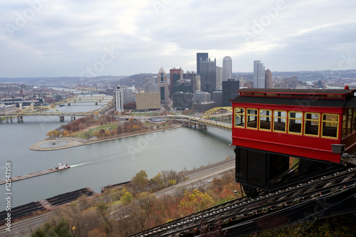 Duquesne Incline with Pittsburgh skyline