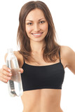 Young happy woman in sportswear with water, isolated poster